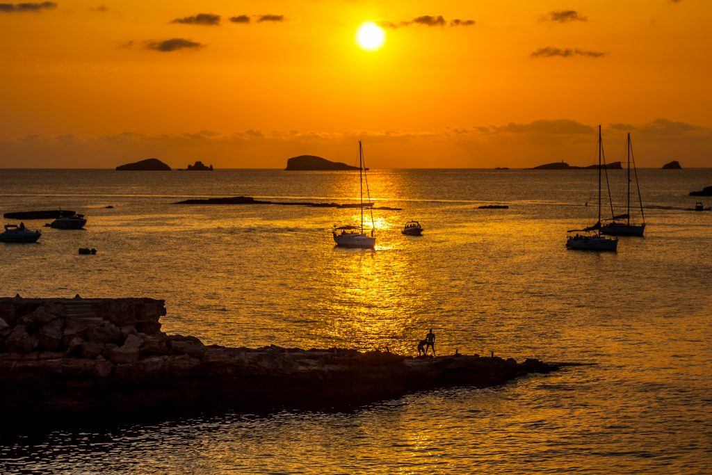 Ibiza Beautiful sunset in Cala Conta, Ibiza,near San Antonio. Best Photographic Spots Ibiza