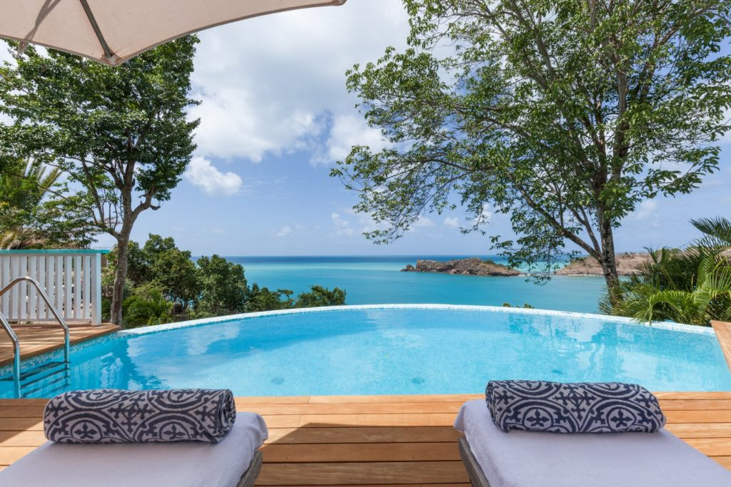 Pool and sea view from the Antigua villa. Thiings to do on Antigua. Caribbean islands