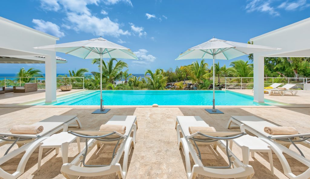 Pool at villa Bamboo, St Martin. Caribbean Honeymoon Villas