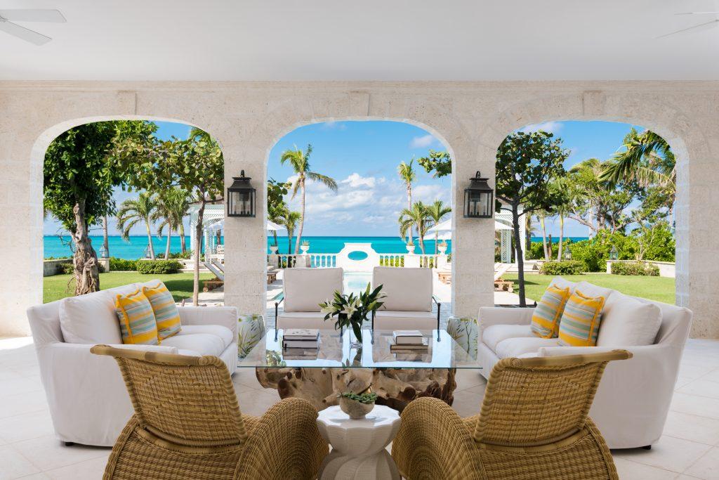 Pool terrace and verandah at villa Coral Pavilion