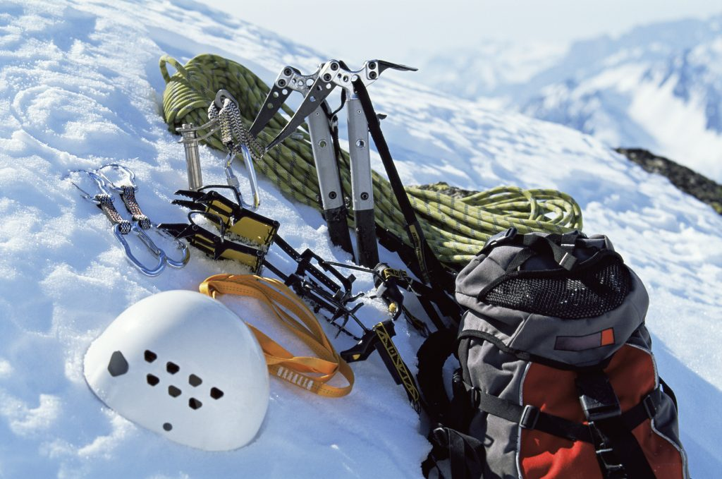 Mountain climbing equipment in snow. Experience Meribel