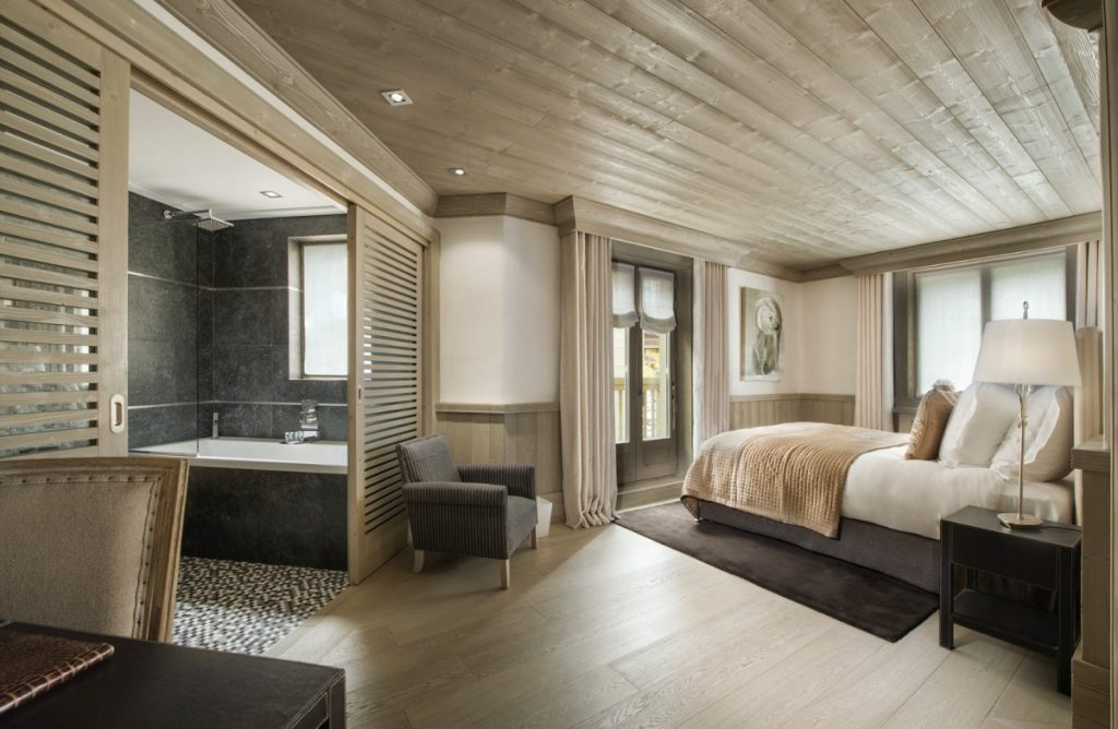 One of the bedrooms at the White Pearl, Chalet in Val d'Isere