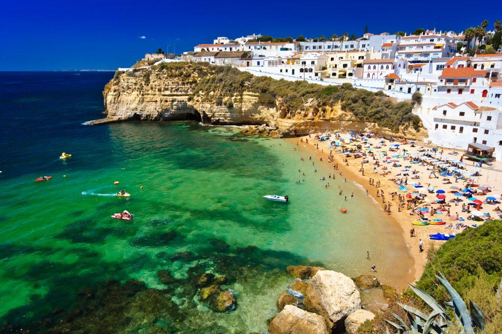 Algarve rock - coast in Portugal. Lisbon vacation