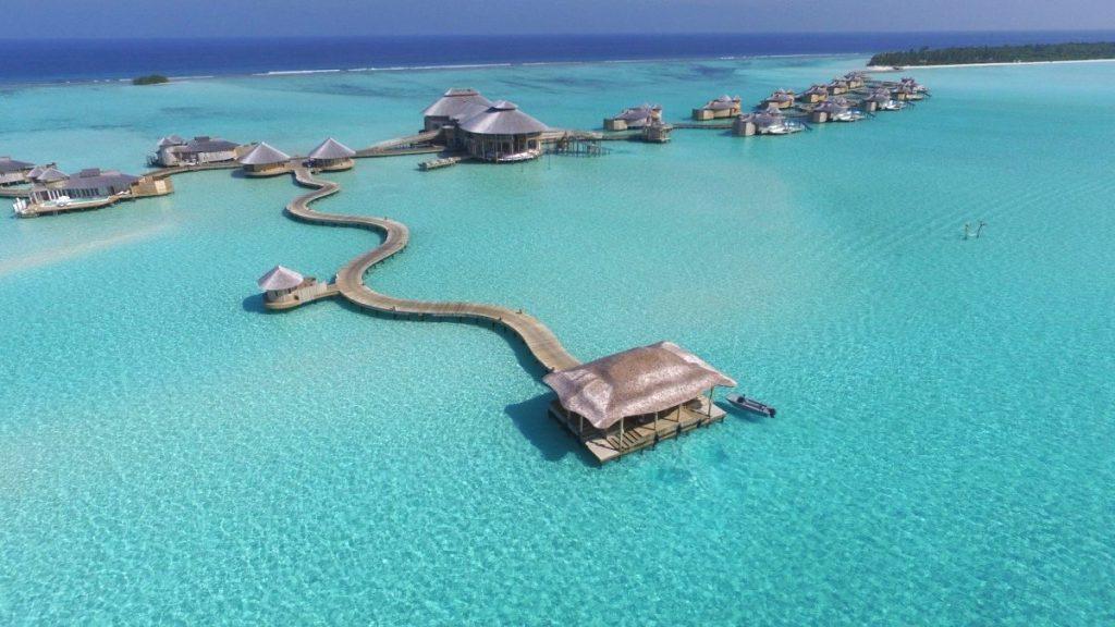 Soneva Jani Aerial View. luxury villas Maldives