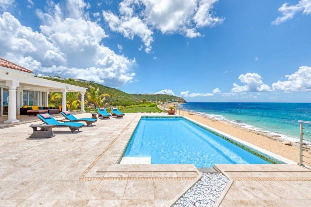 Beachront area at villa La Vie en Bleu, St Martin. Caribbean islands